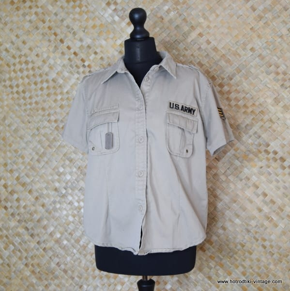 Vintage Style US Army Beige Short Sleeved Shirt 1